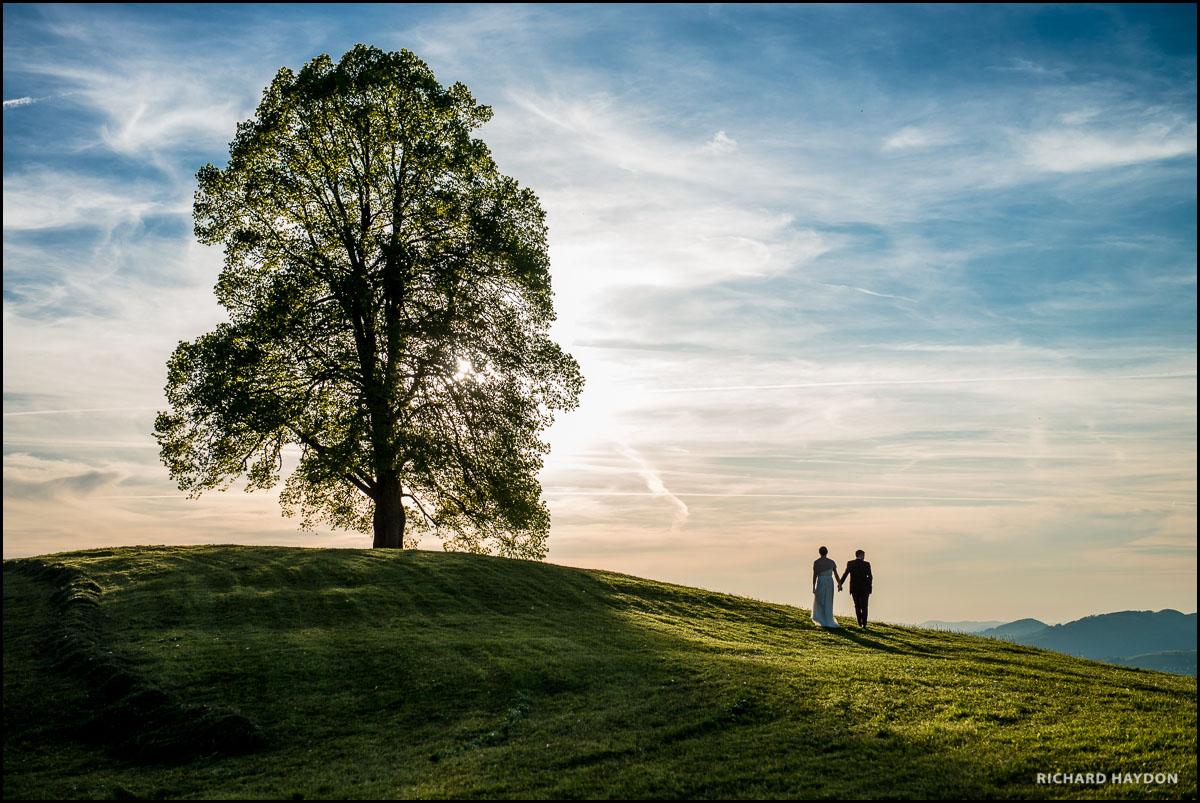 Brautpaar Hand in Hand auf dem Mistlibühl